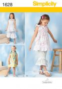 Simplicity Childrens Sewing Pattern 1628 Cropped Pants, Tops & Dresses