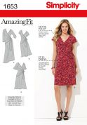 Simplicity Ladies Sewing Pattern 1653 Mock Wrap Dresses