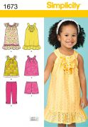 Simplicity Childrens Sewing Pattern 1673 A Line Tops & Dresses, Shorts & Pants