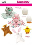 Simplicity Easy Crafts Sewing Pattern 1681 Cuddly Bear, Blanket, Animals & Chick Toys