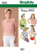 Simplicity Ladies Sewing Pattern 1692 Vintage Style 1940's Blouse Tops