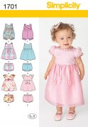 Simplicity Baby & Toddlers Easy Sewing Pattern 1701 Rompers, Dresses & Panties
