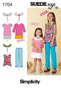 Simplicity Childrens Easy Sewing Pattern 1704 Pants, Tops, Dresses & Collars