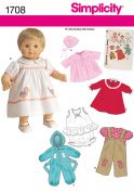 """Simplicity Crafts Easy Sewing Pattern 1708 15\"""" Baby Doll Clothes"""
