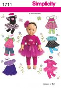 """Simplicity Crafts Sewing Pattern 1711 18\"""" Doll Clothes"""