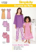 Simplicity Childrens Easy Sewing Pattern 1722 Pyjamas & Nightdresses