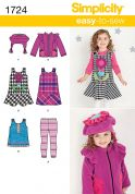 Simplicity Childrens Easy Sewing Pattern 1724 Dresses, Tops, Jackets, Leggings & Hat