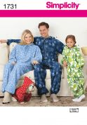 Simplicity Adult, Teen's & Childrens Sewing Pattern 1731 Onesies Fleece Jumpsuits