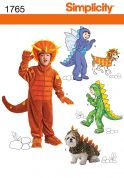 Simplicity Childrens & Pets Sewing Pattern 1765 Dinosaur & Dragon Costumes