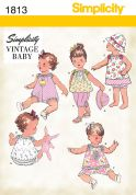 Simplicity Baby Sewing Pattern 1813 Vintage Style Romper, Dress, Top, Pants, Panties & Hat