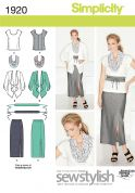 Simplicity Ladies Sewing Pattern 1920 Tops, Jackets, Skirts, Scarf & Belt