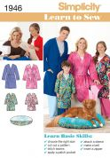 Simplicity Family Easy Learn to Sew Sewing Pattern 1946 Dressing Gowns & Pets Bed