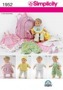 Simplicity Crafts Sewing Pattern 1952 Doll Clothes, Back Pack Doll Carrier & Blankets