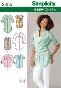 Simplicity Ladies Easy Sewing Pattern 2255 Shirt Tops & Tunics
