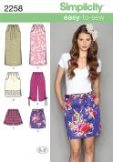 Simplicity Ladies Easy Sewing Pattern 2258 Skirts, Capri Pants & Shorts