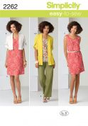 Simplicity Ladies Easy Sewing Pattern 2262 Dress, Tunic Top, Pants & Cardigans