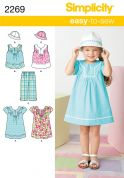 Simplicity Childrens Easy Sewing Pattern 2269 Dress, Top, Cropped Pants & Hat