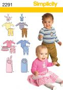 Simplicity Baby Easy Sewing Pattern 2291 Bodysuit, Pants, Skirt, Bibs & Sleeping Bag