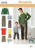 Simplicity Mens & Boys Sewing Pattern 2318 Casual Tops, Shorts, Pants & Dog Coat