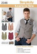 Simplicity Men's Easy Learn to Sew Sewing Pattern 2346 Waistcoats
