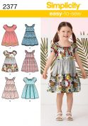 Simplicity Childrens Easy Sewing Pattern 2377 Summer Dresses