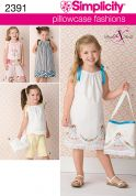 Simplicity Childrens Easy Sewing Pattern 2391 Pillowcase Dress, Tops, Pants & Bag