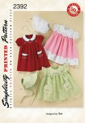 Simplicity Baby Sewing Pattern 2392 Vintage Style Dresses & Bonnets