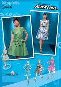 Simplicity Ladies Sewing Pattern 2444 Fitted Dresses with Collars & Sleeves