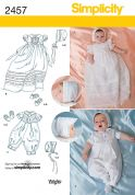 Simplicity Baby Sewing Pattern 2457 Christening Dress, Romper, Bonnet & Shoes