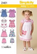Simplicity Childrens Easy Sewing Pattern 2461 Dress, Pinafore & Shorts