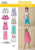 Simplicity Childrens Easy Sewing Pattern 2469 Dresses, Tops, Pants & Jackets