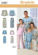 Simplicity Family Sewing Pattern 2481 Pyjamas Tops & Pants