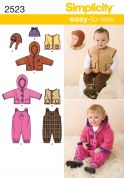 Simplicity Baby Easy Sewing Pattern 2523 Overalls, Jacket, Waistcoat & Hat