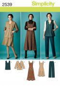 Simplicity Ladies Sewing Pattern 2539 Dresses, Jacket, Waistcoat & Trouser Pants