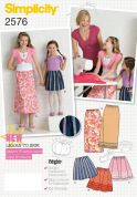 Simplicity Childrens Easy Learn to Sew Sewing Pattern 2576 Skirts