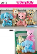 Simplicity Crafts Easy Sewing Pattern 2613 Cuddly Stuffed Animal Toys