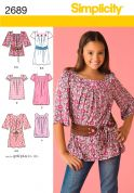 Simplicity Childrens Sewing Pattern 2689 Dresses, Tunic Tops & Belts