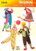 Simplicity Ladies & Men's Sewing Pattern 2849 Clown Fancy Dress Costumes