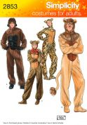 Simplicity Ladies & Mens Sewing Pattern 2853 Gorilla, Lion, Bear & Cat Costumes