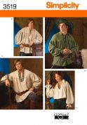 Simplicity Ladies, Mens & Teens Sewing Pattern 3519 Shirt Costumes