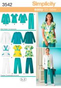 Simplicity Ladies Easy Sewing Pattern 3542 Uniforms Scrub Pants, Top & Jacket