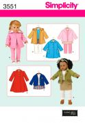 Simplicity Crafts Sewing Pattern 3551 Doll Clothes Outdoor Clothing