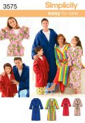Simplicity Mens, Ladies, Teenagers & Childrens Easy Sewing Pattern 3575 Dressing Gowns