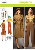 Simplicity Ladies Sewing Pattern 3688 Vintage Style 1940s Blouse, Skirt, Pants & Jacket