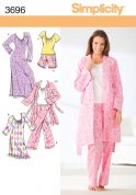 Simplicity Ladies Sewing Pattern 3696 Pyjamas, Nightgown & Dressing Gown