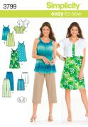 Simplicity Ladies Easy Sewing Pattern 3799 Dress, Tunic, Pants, City Shorts & Jacket