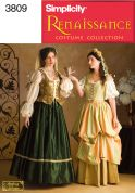 Simplicity Ladies Sewing Pattern 3809 Historical Renaissance Costumes