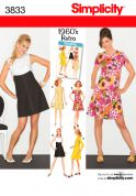 Simplicity Ladies Sewing Pattern 3833 Vintage Style 1960's Retro Dresses
