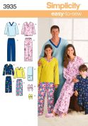 Simplicity Family Easy Sewing Pattern 3935 Pyjama Pants, Top, Slippers & Remote Control Holder