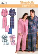 Simplicity Ladies & Mens Easy Sewing Pattern 3971 Pyjamas Sleepwear